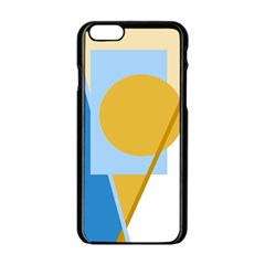 Blue and yellow abstract design Apple iPhone 6/6S Black Enamel Case