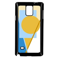 Blue and yellow abstract design Samsung Galaxy Note 4 Case (Black)