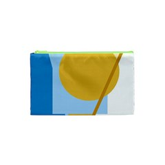 Blue and yellow abstract design Cosmetic Bag (XS)