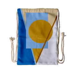 Blue and yellow abstract design Drawstring Bag (Small)