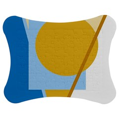 Blue and yellow abstract design Jigsaw Puzzle Photo Stand (Bow)