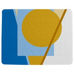 Blue and yellow abstract design Jigsaw Puzzle Photo Stand (Rectangular)