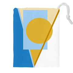 Blue And Yellow Abstract Design Drawstring Pouches (xxl)