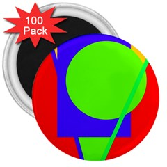 Colorful geometric design 3  Magnets (100 pack)