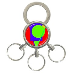 Colorful geometric design 3-Ring Key Chains