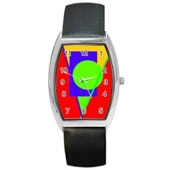 Colorful geometric design Barrel Style Metal Watch