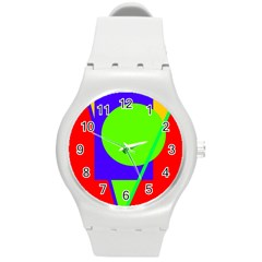 Colorful geometric design Round Plastic Sport Watch (M)