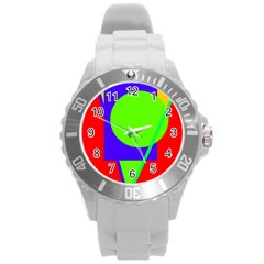Colorful geometric design Round Plastic Sport Watch (L)