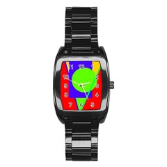 Colorful geometric design Stainless Steel Barrel Watch