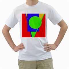 Colorful geometric design Men s T-Shirt (White)