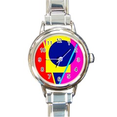 Colorful geometric design Round Italian Charm Watch