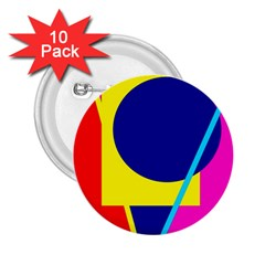 Colorful geometric design 2.25  Buttons (10 pack)