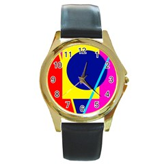 Colorful geometric design Round Gold Metal Watch