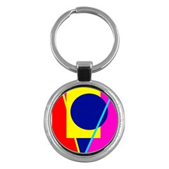 Colorful geometric design Key Chains (Round)