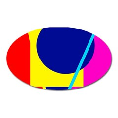 Colorful geometric design Oval Magnet