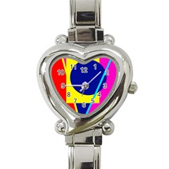 Colorful geometric design Heart Italian Charm Watch