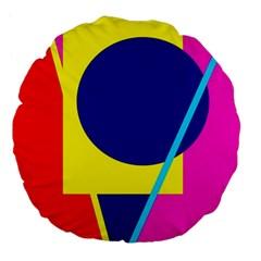 Colorful geometric design Large 18  Premium Round Cushions