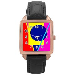 Colorful geometric design Rose Gold Leather Watch