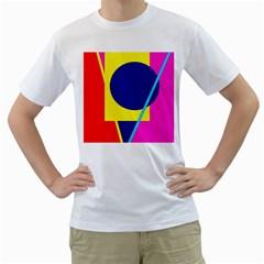 Colorful geometric design Men s T-Shirt (White)