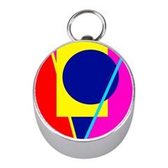 Colorful geometric design Mini Silver Compasses