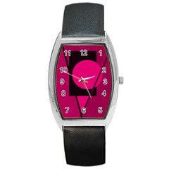 Decorative geometric design Barrel Style Metal Watch