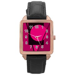 Decorative geometric design Rose Gold Leather Watch