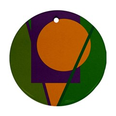 Green and orange geometric design Ornament (Round)