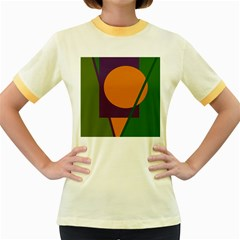 Green and orange geometric design Women s Fitted Ringer T-Shirts