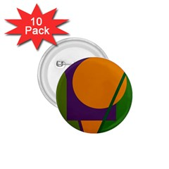 Green and orange geometric design 1.75  Buttons (10 pack)