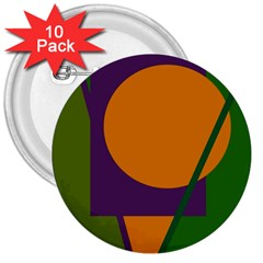 Green and orange geometric design 3  Buttons (10 pack)
