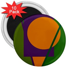 Green and orange geometric design 3  Magnets (10 pack)