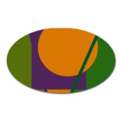 Green and orange geometric design Oval Magnet