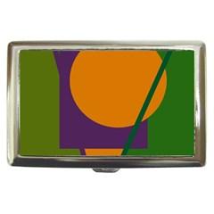 Green and orange geometric design Cigarette Money Cases