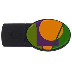 Green and orange geometric design USB Flash Drive Oval (1 GB)