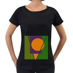 Green and orange geometric design Women s Loose-Fit T-Shirt (Black)