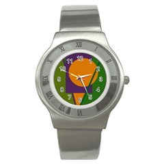 Green and orange geometric design Stainless Steel Watch