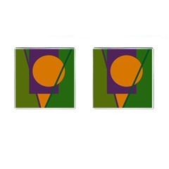 Green and orange geometric design Cufflinks (Square)