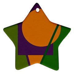 Green and orange geometric design Star Ornament (Two Sides)
