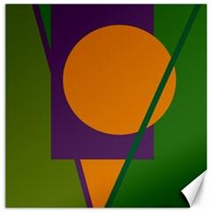 Green and orange geometric design Canvas 12  x 12