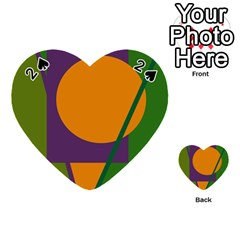 Green and orange geometric design Playing Cards 54 (Heart)