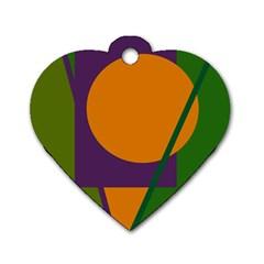 Green and orange geometric design Dog Tag Heart (One Side)