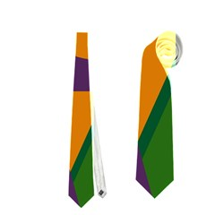 Green and orange geometric design Neckties (One Side)
