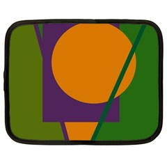 Green and orange geometric design Netbook Case (Large)