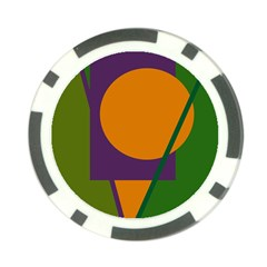 Green and orange geometric design Poker Chip Card Guards (10 pack)