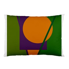 Green and orange geometric design Pillow Case (Two Sides)