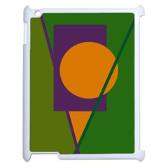 Green and orange geometric design Apple iPad 2 Case (White)