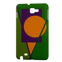 Green and orange geometric design Samsung Galaxy Note 1 Hardshell Case