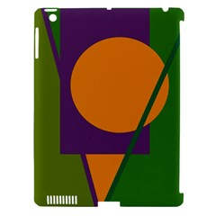 Green and orange geometric design Apple iPad 3/4 Hardshell Case (Compatible with Smart Cover)