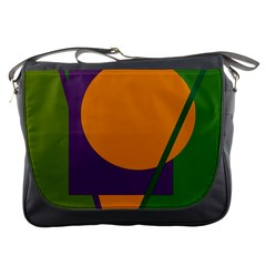 Green and orange geometric design Messenger Bags
