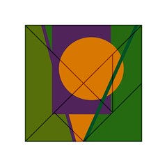 Green and orange geometric design Acrylic Tangram Puzzle (4  x 4 )